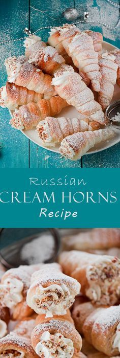 Buttery and flaky cream horns ( Russian trubochki) filled with the sensational, flavorful cream cheese filling.This amazing dessert is on the must-try list. Russian Pastries, Russian Dishes, Russian Desserts, Russian Recipes, Russian Foods, Eclairs, Cannoli, Fun Desserts, Dessert Recipes