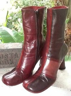 Vtg 70'S Italian Leather Colorblock Rocker Disco Mid-Calf Zip Boots L@@K!