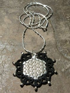 Macrame mandala in Sterling Silver necklace with Sterling silver and Zircons Flower of Life Pendant - sacred geometry, meditation , yoga