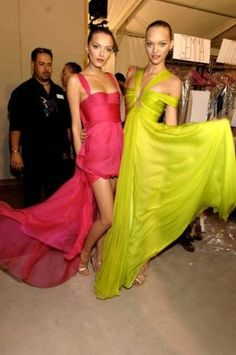 bright pink and green gowns