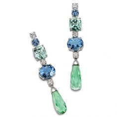 """Limelight"" earrings made of two rount-cut and oval-cut aquamarines, two cushion-cut mint tourmalines, and two briolette green tourmalines by Piaget"