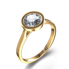 bezel settings for diamonds | Exceptional Bezel Set Round Diamond Engagement Ring in 14k Yellow Gold