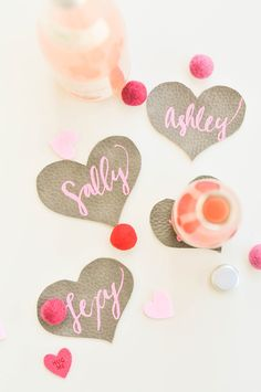 df17bae66aa2 DIY leather coasters, perfect for your Valentine's party! Valentine Name, Valentine  Day Wreaths