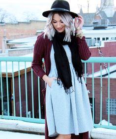 Love the grey Amelia and burgundy sweater