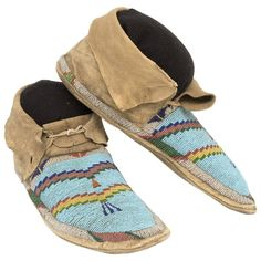 Antique Native American Beaded Hide Moccasins, Plains, 19th Century | 1stdibs.com