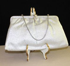 Beautiful, Vintage, Silver Lame, Clutch with Coin Purse by cocoandcoffeevintage
