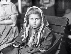 Norwegian immigrant child, Ellis Island, 1920.
