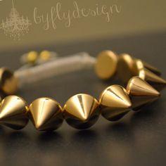 Gold Spikes Shamballa Bracelet