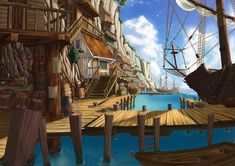 Today i have gathered some of the most amazing and beautiful digital paintings from Deviant Art. In this post we'll showcase 70 digital paintings from various designers. Fantasy City, Fantasy Places, Fantasy World, Fantasy Art Landscapes, Fantasy Landscape, Environment Concept Art, Environment Design, Environment Painting, Pirate Art