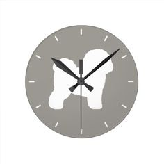 Bichon Frise Silhouette Round Clock - diy cyo customize create your own personalize