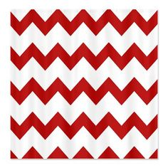 Red White Chevrons Shower Curtain - maybe for xmas