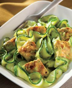 "Zucchini Noodles with Avocado Cream Sauce  Get the recipe here: http://on.fb.me/1phuU65  From Bob Harper's ""Skinny Meals"" cookbook: http://www.amazon.com/gp/product/0804178895?creativeASIN=0804178895&linkCode=w01&linkId=G35DA3QQXOPJP4ZL&ref_=as_sl_pc_ss_til&tag=rebeinghfitn-20"