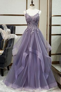 Unique Long Tulle Spaghetti Straps Layered Prom Dress With Applique from Sweetheart Dress Pretty Prom Dresses, Straps Prom Dresses, Prom Party Dresses, Cute Dresses, Beautiful Dresses, Evening Dresses, Formal Dresses, Purple Grad Dresses, Dress Prom