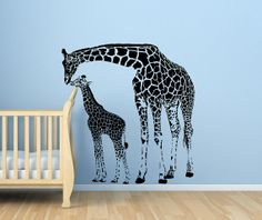 Giraffe and Her Baby Nursery Vinyl Wall Decal, Matte Finish. 47.7h x 45w, D00083. on Etsy, $70.00