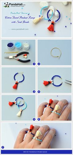 How to Make Cotton Tassel Pendant Rings with Seed Beads Thread the pearl beads, cotton tassel pendants and seed beads onto the eyepins, and you will get a cute ring!
