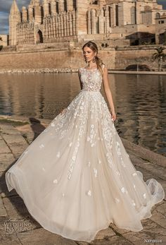 "Naviblue 2019 Wedding Dresses — ""Dolly"" Bridal Collection naviblue 2019 bridal sleeveless jewel neckline heavily embellished bodice romantic a line wedding dress covered lace back chapel train mv — Naviblue 2019 Wedding Dresses Western Wedding Dresses, Princess Wedding Dresses, Best Wedding Dresses, Bridal Dresses, Wedding Gowns, Lace Wedding, Event Dresses, Best Wedding Dress Designers, Romantic Dresses"