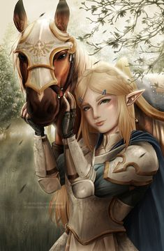 Zelda in armor with horse | Legend of Zelda Breath of the Wild