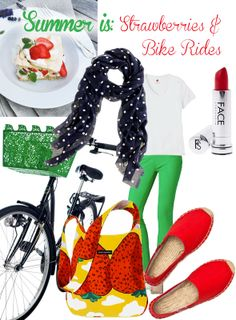 Summer is: strawberries & bike rides! Outfit for summer picnic, farmer's market or a bike ride :)