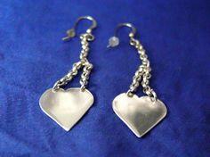silver heart earrings handmade by VintageJewelryNsmith on Etsy, $29.00