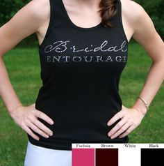 Every bride-to-be needs one of these rhinestone bridal entourage tank top! They are available in four fun colors and are adorned with a script rhinestone lettering. Wedding Wear, Wedding Bride, Dream Wedding, Wedding Stuff, Wedding Gifts, Bridesmaid Tank Tops, Bridesmaid Ideas, Bridesmaids, Bachlorette Party