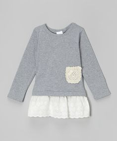 Another great find on #zulily! Gray Lace Pocket Tunic - Infant, Toddler & Girls by Leighton Alexander #zulilyfinds