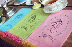 Thompson Family-Life: A Downton Abbey Tea Party ...... Cute embroidery with crochet edge tea towels