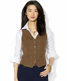 Lauren Ralph Lauren Top, Sleeveless Houndstooth Wool Vest
