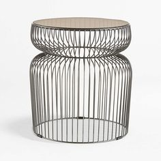 Spoke Tea Glass Graphite Metal End Table | Crate and Barrel Glass Round Dining Table, A Table, Dining Tables, Unique Furniture, Custom Furniture, Drink Stand, Metal End Tables, Pick Up Trash, Furniture Outlet