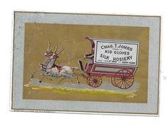 KID GLOVES Silk Hosiery CHAS T JONES Advertising Trade Card goats pulling cart