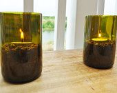 Tea Light Candle Holders Hurricane Lamps Lanterns made from Upcycled Wine Bottles Large Quantities Available. $30.00, via Etsy.