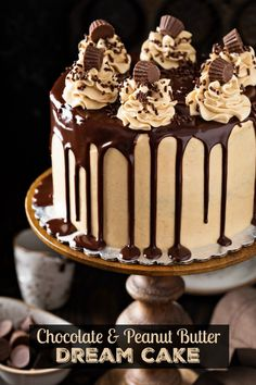Chocolate and Peanut Butter Dream Cake — it tastes like a giant Reese's cup in cake form! Start with a crazy moist, rich chocolate three layer cake with creamy peanut butter frosting and top it with a sweet dark chocolate glaze! Food Cakes, Cupcake Cakes, Peanut Butter Birthday Cake, Reeses Cake, Reeses Pieces Cake, Reeces Pieces, Delicious Desserts, Dessert Recipes, Dream Cake