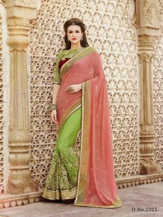 Touch Trends Peach Embroidered Saree
