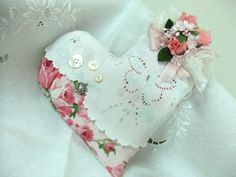 Valentine Heart  Vintage Lace  Nosegay Pillow by nannycarol, $15.00