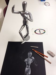 Body Proportions - Wooden Mannequin Drawing Lessons- 2 Lessons,Lesson #1: Middle School Art: Body Proportions - Wooden Mannequin Sketchbook Drawings, Lesson #2: Mannequin White Charcoal Drawing Project