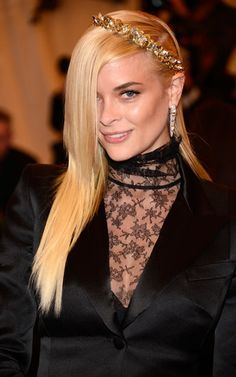 Jaime King: An askew, spiked crown was the highlight of Jaime Kings red carpet look, especially with her eye-covering fringe.