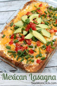 If you love Mexican recipes, you need to add this Mexican Lasagna to your easy dinner recipes list. Full of flavor and it goes together fast!