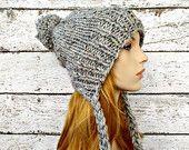 Knit Hat Womens Hat Earflap Hat Slouchy Beanie - Charlotte Slouchy Ear Flap Hat in Grey Tweed - Winter Accessories Womens Accessories