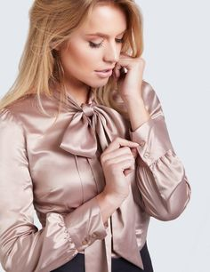 Women's Taupe Fitted Luxury Satin Blouse - Pussy Bow
