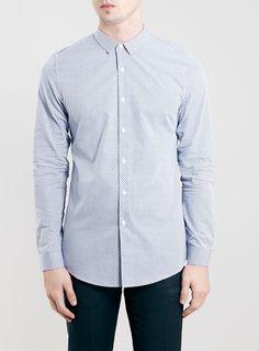 Navy Textured Gingham Long Sleeve Smart Shirt