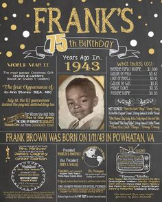 75th Birthday Chalkboard, 1943 Poster, 75 Years Ago in 1943, Born in 1943, 75th Birthday Gift 1943, Back in 1943, Fun Facts A birthday chalkboard is a GREAT conversation piece for a birthday party! ***The only items we are able to change on this listing are:color (you choose one color in addition to white), the name on