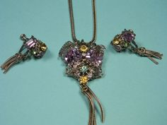 Purple Art Deco Vintage Jewelry Set Classic by dianadivine on Etsy