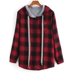 SheIn(sheinside) Red Hooded Long Sleeve Plaid Pocket Sweatshirt ($23) ❤ liked on Polyvore featuring tops, hoodies, sweatshirts, jackets, shirts, sweaters, outerwear, red, long sleeve shirts and pullover hoodies
