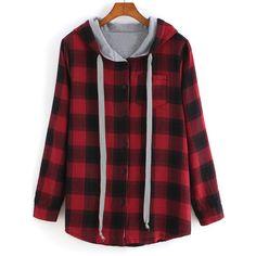 SheIn(sheinside) Red Hooded Long Sleeve Plaid Pocket Sweatshirt (£17) ❤ liked on Polyvore featuring tops, hoodies, sweatshirts, shirts, jackets, sweaters, red, long sleeve cotton shirt, hooded pullover sweatshirt and long sleeve plaid shirt