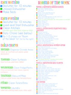New fly lady cleaning schedule flylady 30 ideas House Cleaning Tips, Diy Cleaning Products, Cleaning Solutions, Spring Cleaning, Cleaning Hacks, Cleaning Schedules, Cleaning Routines, Diy Hacks, Weekly Cleaning Schedule Printable