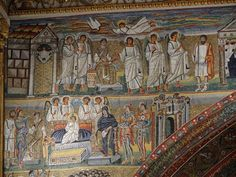 Detail of the mosaics on the left side of the triumphal arch. Top: The Annunciation Bottom: Adoration of the Magi Byzantine Art, Byzantine Icons, Byzantine Mosaics, Early Christian, Christian Art, Tempera, Fresco, Santa Maria Maggiore, Carolingian