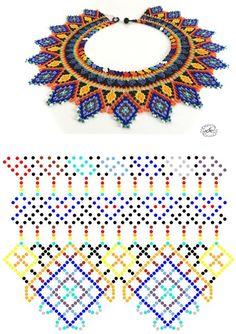 Beaded beads tutorials and patterns, beaded jewelry patterns, wzory bizuterii koralikowej, bizuteria z koralikow - wzory i tutoriale Diy Necklace Patterns, Seed Bead Patterns, Beaded Jewelry Patterns, Loom Patterns, Beading Patterns, Free Beading Tutorials, Native Beadwork, Beaded Crafts, Beaded Collar