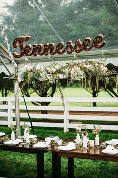 Hanging floral arrangement over head table // Carnton Wedding Flowers