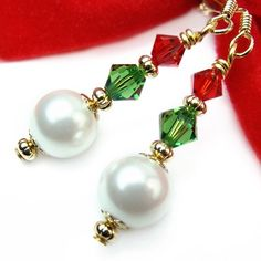 White Pearl Christmas Holiday Earrings Red Green Crystals Swarovski