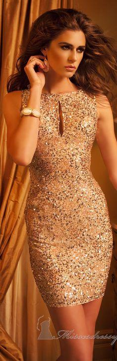 Keyhole Mini-Dress by Scala Couture #glitter #dress <3