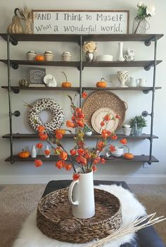 DIY industrial pipe shelves with farmhouse orange-autumn-decor